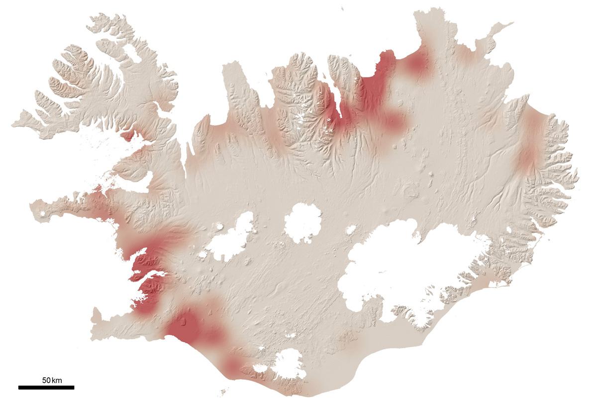 Þéttleiki brandugluvarps á Íslandi